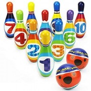 NSinc - Kids Bowling Play Set, Safe Foam Bowling Ball Toy, Learning, Educational, Early Developmental Toys, 10 Pins and 2 Bowling Balls for 2, 3, 4, 5 Year Olds and Up, Children and Toddlers