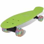 vidaXL Green Retro Skateboard with LED Wheels