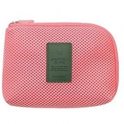 Portable Makeup Bag/Travel Cosmetic Bags/Brush Pouch/Electronics Accessories Handbag Usb/Hard Drive Cable Carry Case Digital Smartphone Charger Carrying Pouch With Zipperd Mesh (Colour May Vary)