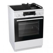 Готварска печка Gorenje KC6355WT, клас A, 4 нагревателни зони (2 стъклокерамични + 2 газови), 67 л. обем, AquaClean почистване, WarmPlate функция, бяла
