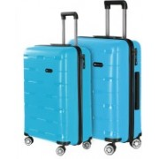 Nasher Miles Santorini PP Hard-Sided Luggage Set Of 2 Trolley/Travel/Tourist Bags (55 & 65 Cm) Aqua Blue Check-in Luggage - 24 inch(Blue)