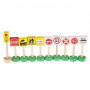 Alcoa Prime Educational Wooden Early Learning Kids Traffic Signs Learn Play Toy Set Gift