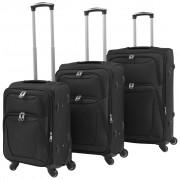 vidaXL Комплект от 3 броя меки куфари на колелца, черни