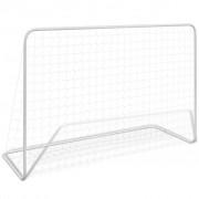 vidaXL Baliza de futebol com rede 182x61x122 cm aço branco