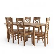 Oak Furnitureland Brushed and Glazed Solid Oak Dining Sets - Dining Table with 6 Chairs - Parquet Range - Oak Furnitureland