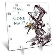 3dRose DC_110410_1 Mad Hatter Have I Gone Mad Alice in Wonderland Reloj de computadora, 15,2 x 15,2 cm
