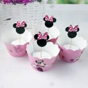 Cupcakes şi scobitori Candy Bar cu Minnie Mouse