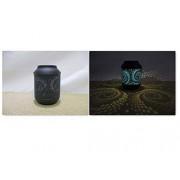 Hi-Line Gift Ltd Maceta Solar de Metal Negro y Azul de 15 Pulgadas con LED WW