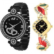 New Dubble Heart Black With Aks More Red Best Designing Stylist Looking Analog Watch For Women