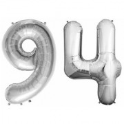 Stylewell Solid Silver Color 2 Digit Number (94) 3d Foil Balloon for Birthday Celebration Anniversary Parties