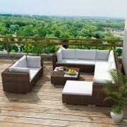 Set mobilier de grădină 32 piese, poliratan, maro