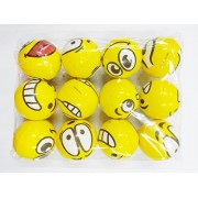GOLD LEAF Cute Funny Yellow Emoji Smiley Face Squeeze Ball Pack of 12