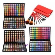 120 Color De Ojos Paleta De Sombra 3 Pack 3 # 4 # 5 # 9pcs Plus Del Sistema De Cepillos (rojo)
