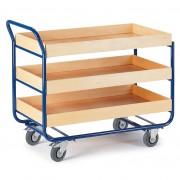 Rollcart Tischwagen mit 3 Etagen 775x475mm Buchedekor 80mm Rand