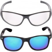 Criba Wayfarer, Retro Square Sunglasses(Blue, Clear)