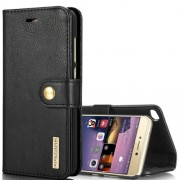 For Huawei P8 Lite (2017) Crazy Horse Texture Horizontal Flip Detachable Magnetic Protective Case with Holder & Card Slots & Wallet(Black)