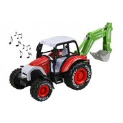 Children Baby Vehicles Toys 1:32 Scale Diecast Classic Farm Tractor Excavator Pull Back Construction Vehicle Car Digger Truck Model Toy with Light and Music for Toddlers Kids Girls Boys Xmas Gift, Red