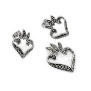 Set argint 925 inimioare cercei si pandant cu marcasite