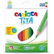 Set 24 creioane colorate hexagonale-Carioca
