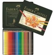 Creioane colorate Polychromos, cutie metal, 24 culori/set Faber-Castell