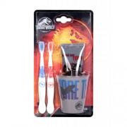 Universal Jurassic World подаръчен комплект четки за зъби 2 бр + паста за зъби 75 ml + чаша поставка за четки за зъби
