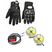 Autosky Combo of 4 Led Fog Light (Set Of 2) For All Bikes With On Off Switch And Full Finger Protective Gloves