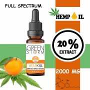 Greenstorm huile Huile de CBD BIO Broad Spectrum 20% 2000 mg 10 ml Hemp Oil saveur Orange