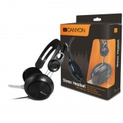 HEADPHONES, CANYON CNE-CHSU1B, USB, inline remote, Microphone, Black