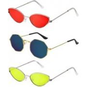 SRPM Cat-eye, Retro Square Sunglasses(Red, Blue, Yellow)