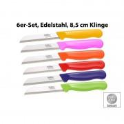 Löffler Schneidewaren Co. 6 Edelstahl-Gemüse-/Obstmesser aus Solingen, 8,5-cm-Klinge Sägeschliff