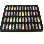 Royalkart 48 Pcs Glass Bottles 3D Nail Art Set. Glitter Sequins Rhinestones (MultiColor)