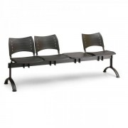 Kovo Praktik Plastové lavice VISIO, 3-sedák + stolek, černé nohy červená