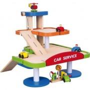 Garaj de dimensiuni mari pe 3 nivele, Garaj din lemn copii, Masini copii, Jucarii educative, Jucarii copii 3 ani +