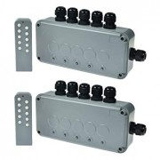 SuperInk 2 Set 15A 5-Gang Junction Box Weatherproof Outdoor Switched with 5 x Push Switches w/indicators and 6 x 20mm Cable Gland and Remote Power Switch IP66 Rated (2PK Box, 2PK Remote Control)