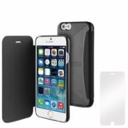 Husa Apple iPhone 6 iPhone 6s Muvit Easy Folio Card Negru + Folie Sticla OEM