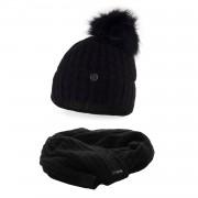 Komplet PaMaMi, czapka i szalik - Czarny