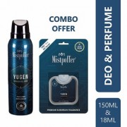 Mistpoffer Yugen Perfumed Deodorant Body Spray + Mistpoffer Yugen Pocket Perfume Combo Offer Pack of 2 For Men