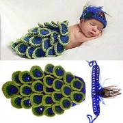 Kuhu Creations New Born Baby Cute Peacock Cartoon handmade Photography Knitted Prop.