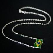 Corrente / Colar de Prata 925 com Bandeira do Brasil
