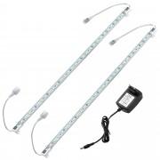 [in.tec] Tira de luz LED aluminio - 2 x 50cm - 7,2W - 30 SMD - blanca cálida - con fuente de alimentación