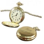 """Luxury Engraved s UK Reloj de Bolsillo para Hombre con Grabado de Lujo en el Reino Unido con Texto""""Happy 70th"""" en Color Dorado, Personalizable y Grabado en Caja de Oro"""