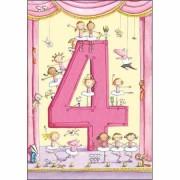4 jaar - verjaardagskaart kind - ballerina roze