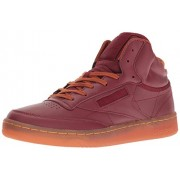 Reebok Men s Club C Mid Cord Fashion Sneaker Merlot/Ginger/Paper White/Rbk Brass-gum 14 D(M) US