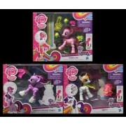 My Little Pony Explore Equestria Pie Cheering Poseable Action Pony, Rarity Dressmaking Poseable Action Pony, and Princess Twilight Sparkle Ice Skating Pony - GIFT SET BUNDLE - 3 PACK by MLP