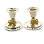 2 sfesnice argintate din alpaca cu fundite aurii