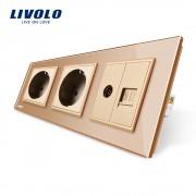 Priza tripla Livolo cu rama din sticla 2 prize simple+TV/internet, auriu