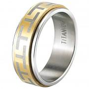 St. Leonhard Herren-Ring aus Titan, teilw. vergoldet, Gr. 66 (Ø20,7mm)