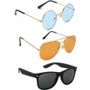 Elligator Round, Aviator, Wayfarer Sunglasses(Blue, Orange, Black)