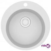 vidaXL Granitni kuhinjski sudoper s jednom kadicom okrugli bijeli