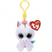 Breloc din plus TY Boos 8.5 cm - Unicorn Pixy alb